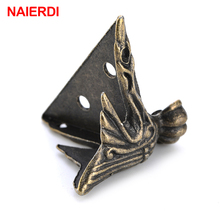 4PCS NAIERDI 40x30mm Antique Wood Box Feet Leg Corner Protector Triangle Rattan Carved Decorative Bracket For Furniture Hardware