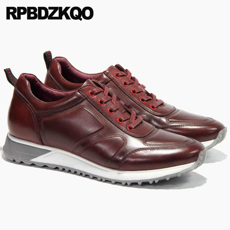 1a2a52b32fa2c ... genuine leather solid casual european trainers sneakers luxury men  shoes italy brand comfort burgundy high quality ...