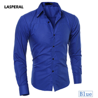 LASPERAL Plus Size 5XL Solid Color Classic Formal Mens Shirt Multicolor Long Sleeve Turn Down Collar