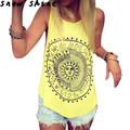 Snowshine #3001 Sexy Mulheres Sun Impresso Blusa Sem Mangas Colete Camiseta Blusa Casual Tops frete grátis