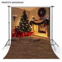 MEHOFOTO árbol de navidad regalo vela adorno piso de madera guirnalda de flores niños foto telón de fondo de fotografía Photo Studio