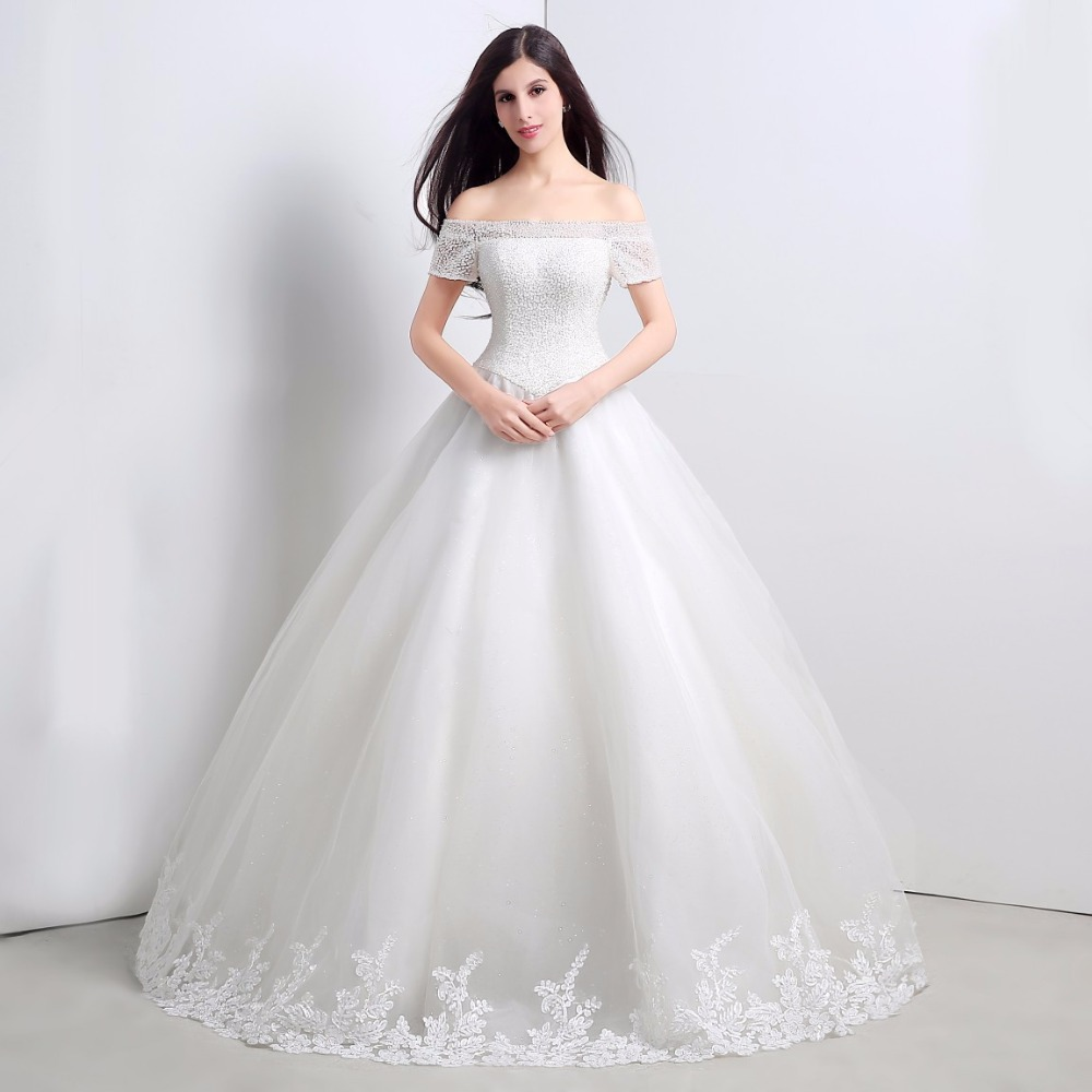 Beautiful Wedding Ball Gowns: Boat Neck Short Sleeves Off The Shoulder Bridal Ball Gowns
