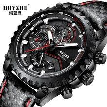 BOYZHE Watch Men Luxury Waterproof Calendar Fashion Business Casual Leather Mechanical Watches Self Wind Clock montre