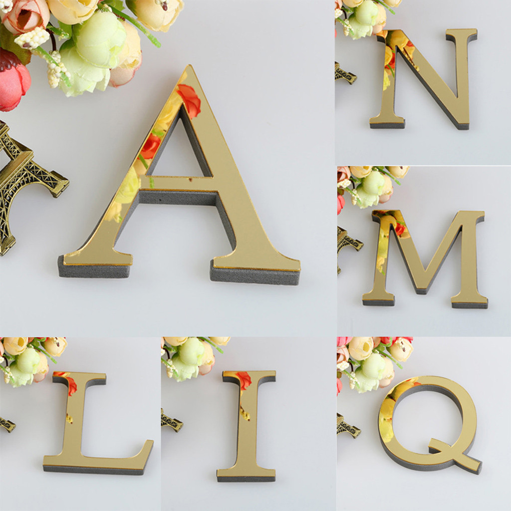 1PCS DIY 3D 26 English Letters  Mirror Acrylic Wall Sticker Decals Surface Modern Home Decor Wall Art Mural Fumiture Stickers B1