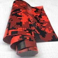 Vermelho Preto Digital Camo Militar Film Com Bolha de Ar Livre Da Motocicleta Espelho de Carro Adesivo PVC Camouflage Vinil Envoltório