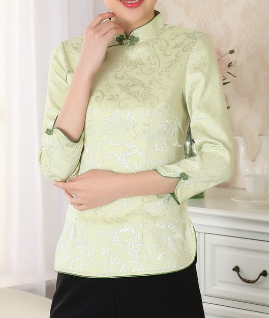 Summer Traditional Chinese fashion 2014 womens tops Blouse Shirt Short Sleeves Size S M L XL XXL A0051