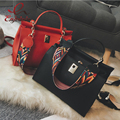 Classic fashion design pu leather double shoulder strap casual totes ladies handbag shoulder bag pouch crossbody messenger bag