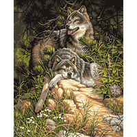 No Framed Wolf Animals DIY Painting By Numbers Acrylic Picture Wall Art Canvas Painting Hand Painted