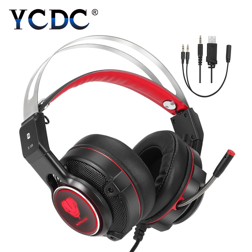 YCDC Stereo Wired Gaming Headset Deep Bass Game Earphone Computer headphone with microphone led light headphones for computer pc beexcellent gm 1 pc gaming gamer headset headphones headphone wired stereo bass with microphone led for computer pk xiaomi