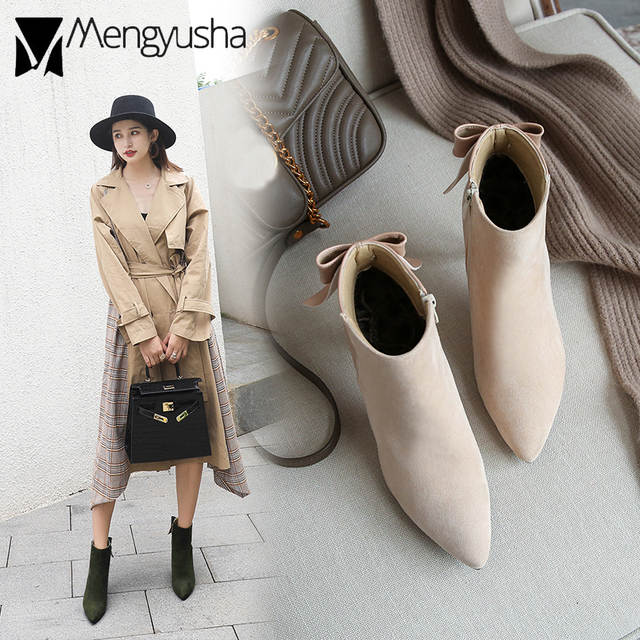 US $25.72 25% OFF|suede patchwork high heel ankle boots women spring autumn butterfly knot fashion booties korean style chelsea boots mujer in Ankle