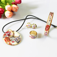 Clearance Rose Gold Plated Colorful Rose Ribbon Auspicious Clouds Enamel Jewelry Set Necklace Earring Ring Bangle