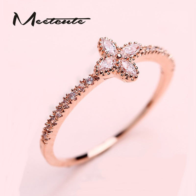 Best Gift For New Wife Part - 41: Meetcute New Lovely Clover Blink Crystal Rings For Women Ring Female  Romantic Wedding Jewelry Best Gift