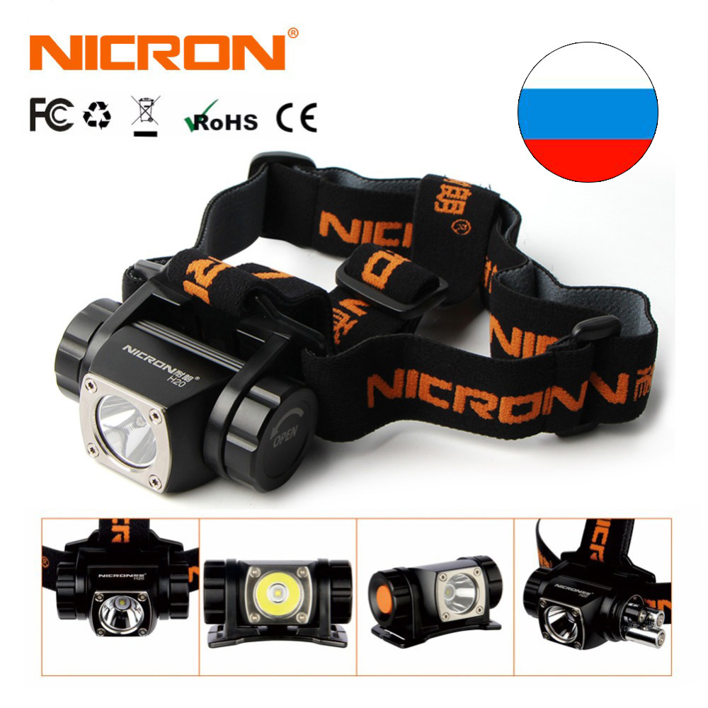 NICRON LED Headlight Brightness Head Lamp Flashlight 380LM 150M AAA Battery Headlamp Light Lamp Torch Aluminum Outdoor Use H20