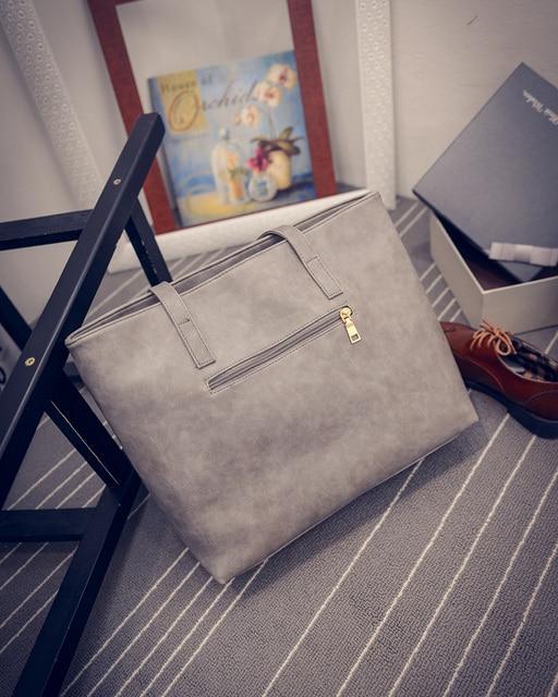 Women Scrub Leather Handbag Black Grey Causal Tote Bag Large Capacity Shoulder bag Shopping Luxury Handbags Women Bags Designer 2
