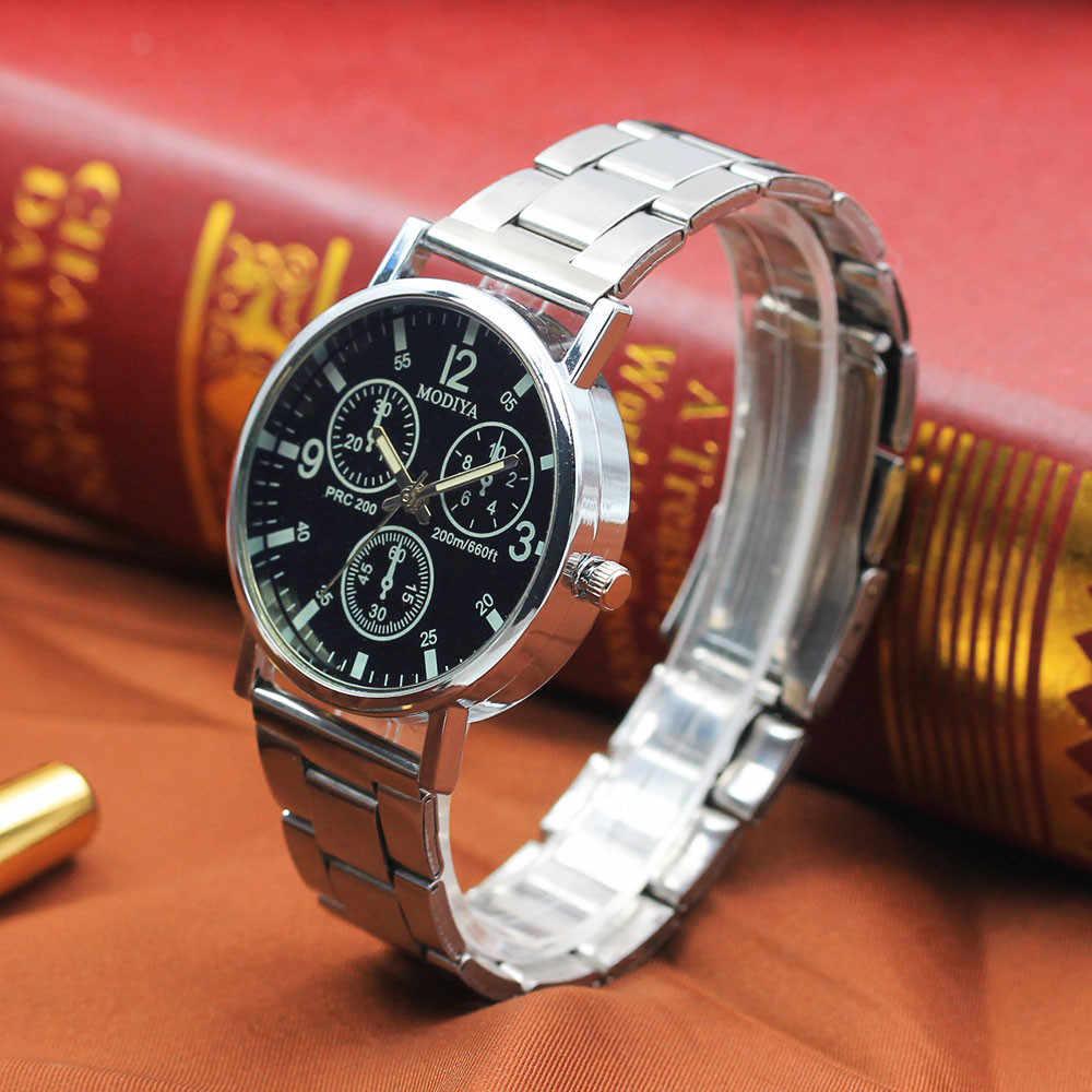 Reloj masculino nuevo reloj deportivo de moda Simple fideos negros de acero inoxidable reloj de Hora de cristal brillante azul reloj analógico P20