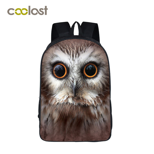 48fc38899371 3D Printing Backpack Male Laptop Bags 2017 Fashion Owl Backpack Schoolbag  for Teenagers Girls Boys Animal