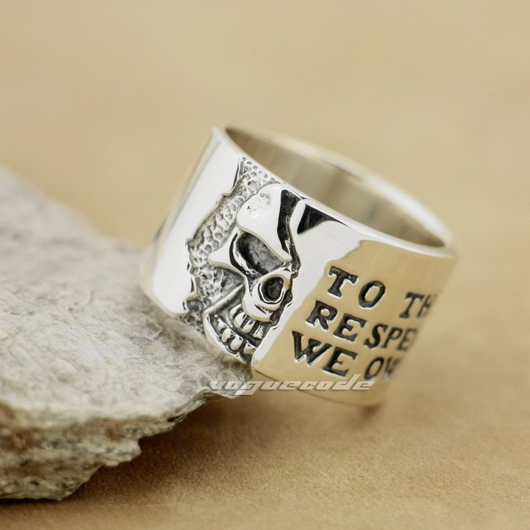 925 Sterling Silver Motto On Wide Skull Mens Biker Ring 8Y006925 Sterling Silver Motto On Wide Skull Mens Biker Ring 8Y006