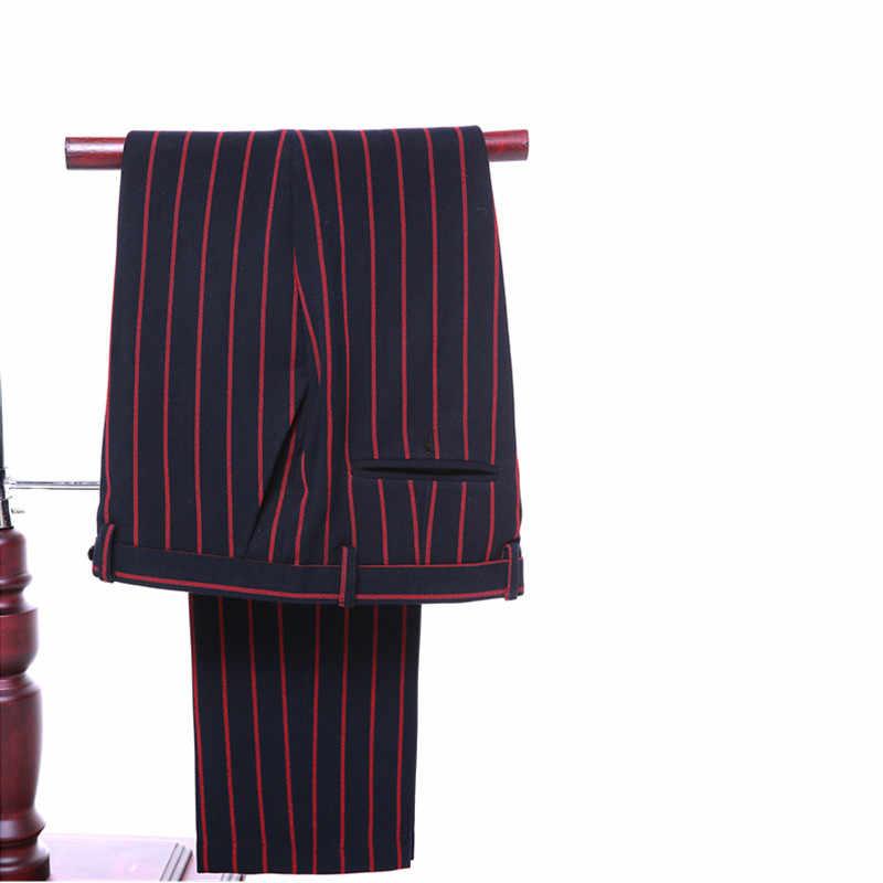 新しい赤い縞模様の男性のスーツラペルダブルブレスト男性のウェディングドレスとビジネススーツ(ジャケット+パンツ+ベスト)カスタムメイド