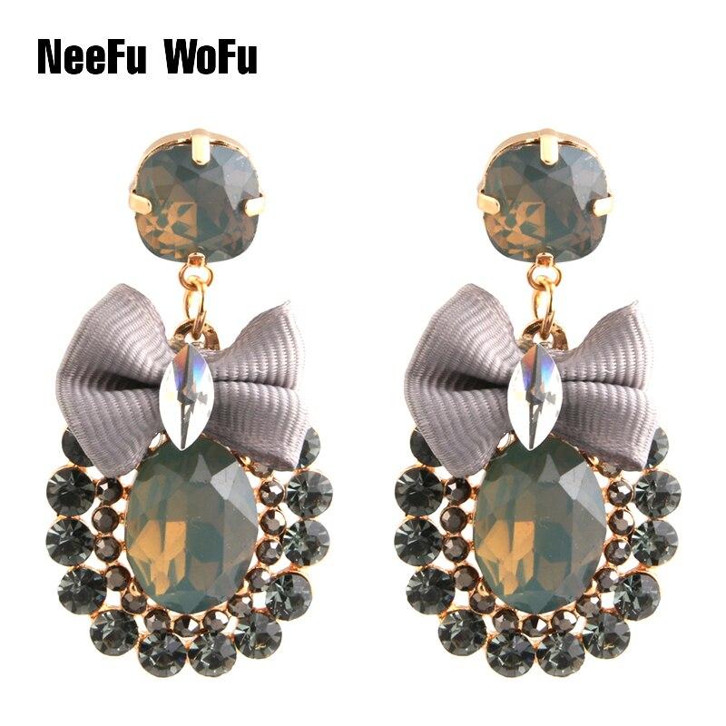 NeeFu WoFu Drop Rhinestone Tie Big Earring Dangle Zinc alloy Large Long Brinco Printing Ear Accessories Oorbellen
