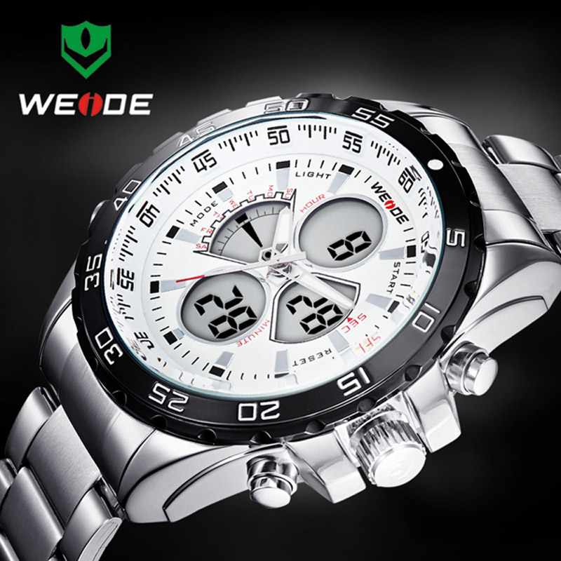 2017 WEIDE Top Fashion Watches Men Luxury Brand Men's Quartz Hour Analog Digital LED Sport Watch Man Army Military Wrist Watches 2018 new luxury brand weide men watches men s quartz hour clock analog digital led watch pu strap fashion man sports wrist watch