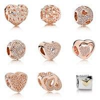 925 Silver Charm Hạt Rose Vàng Hollow Love Fit Nữ Gốc Pandora Charm Bracelet và Vòng Đeo Tay Phụ Nữ Jewelry Diy