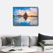 Laeacco Canvas Calligraphy Painting Blue Sky Sunshine Posters and Prints Wall Art Pictures Living Room Home Decoration