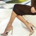 New Women european ladies beige black pointy toe slim fit high heel dress pumps 3 ankle buckle strap wrapped heel nightclub shoe