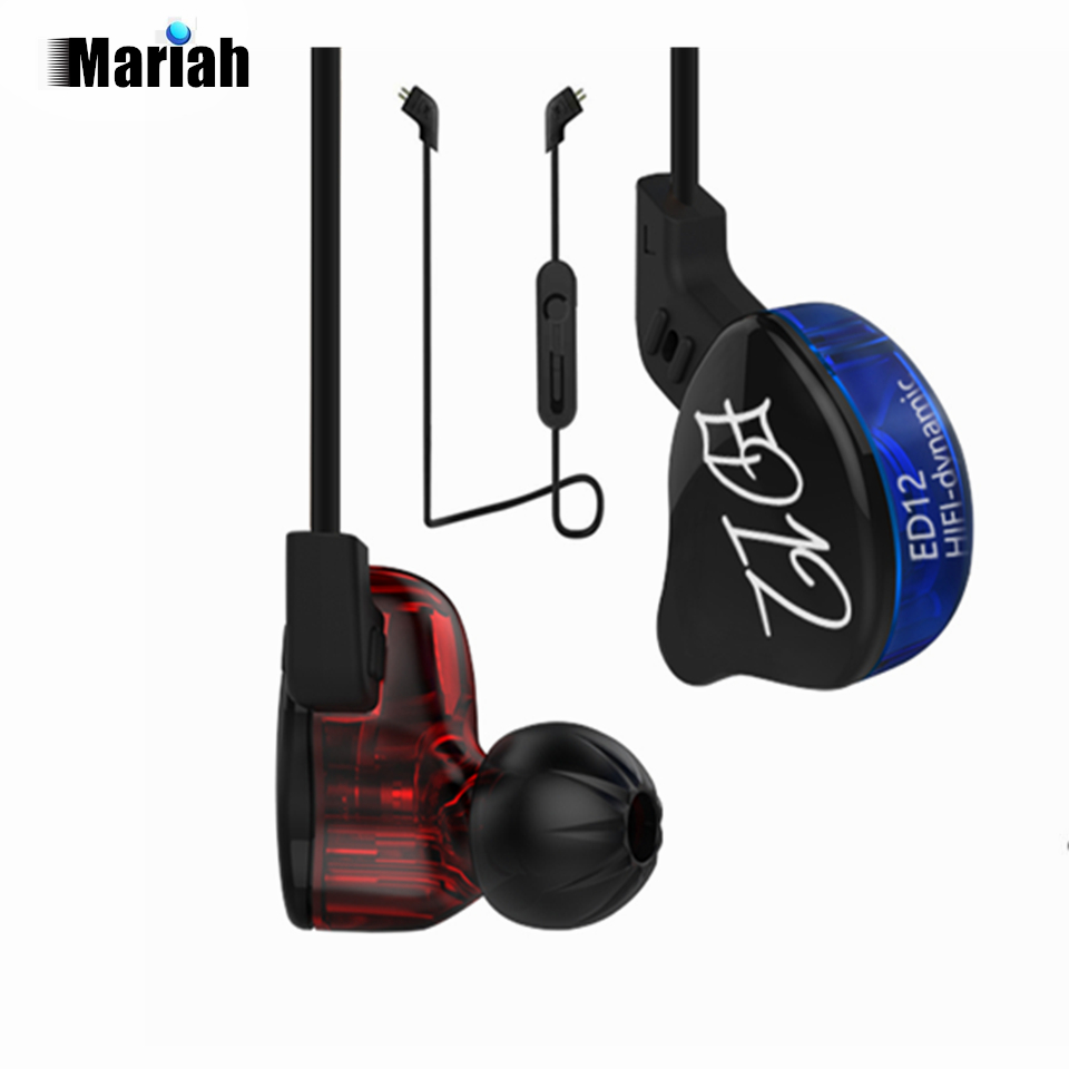 KZ ED12 Custom Style Earphone Detachable Cable In Ear Audio Monitors Noise Isolating HiFi Music Sports