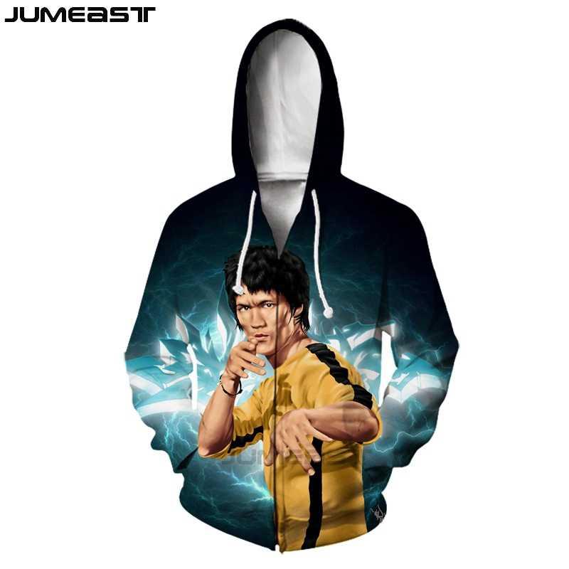Jumeast ブランド男性/女性 3D プリント中国カンフースーパースターブルース · リー長袖ジャケットスポーツプルオーバーファッションジッパーパーカー