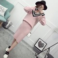 2016 New Arrival Women's Autumn Clothes Knitting Sailor Collar Pullover Top And Elastic Skirt Set Female Casual Suit 3 Colors In