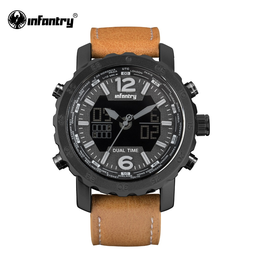 INFANTRY Military Watch Men LED Digital Quartz Mens Watches Top Brand Luxury Tactical Army Aviator Leather Relogio Masculino все цены