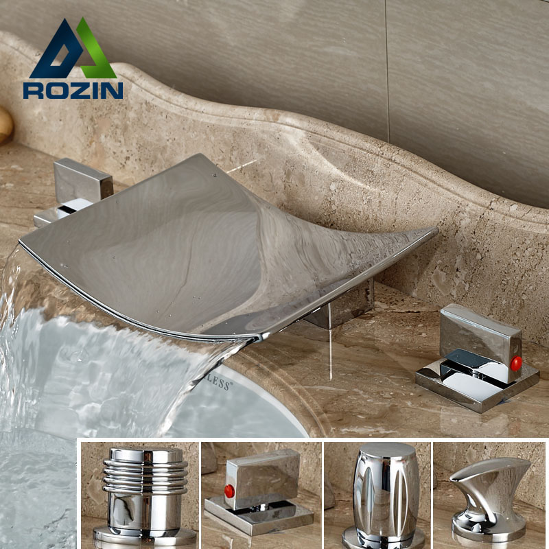 ФОТО Bright Chrome Bathroom Waterfall Bathtub Faucet Tap Two Handle Widespread Basin Sink Mixer Taps