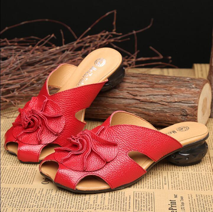 夏母スリッパファッション女性スリッパソフト快適な本革の靴女スロープスリッパ  グループ上の 靴 からの スリッパ の中 1