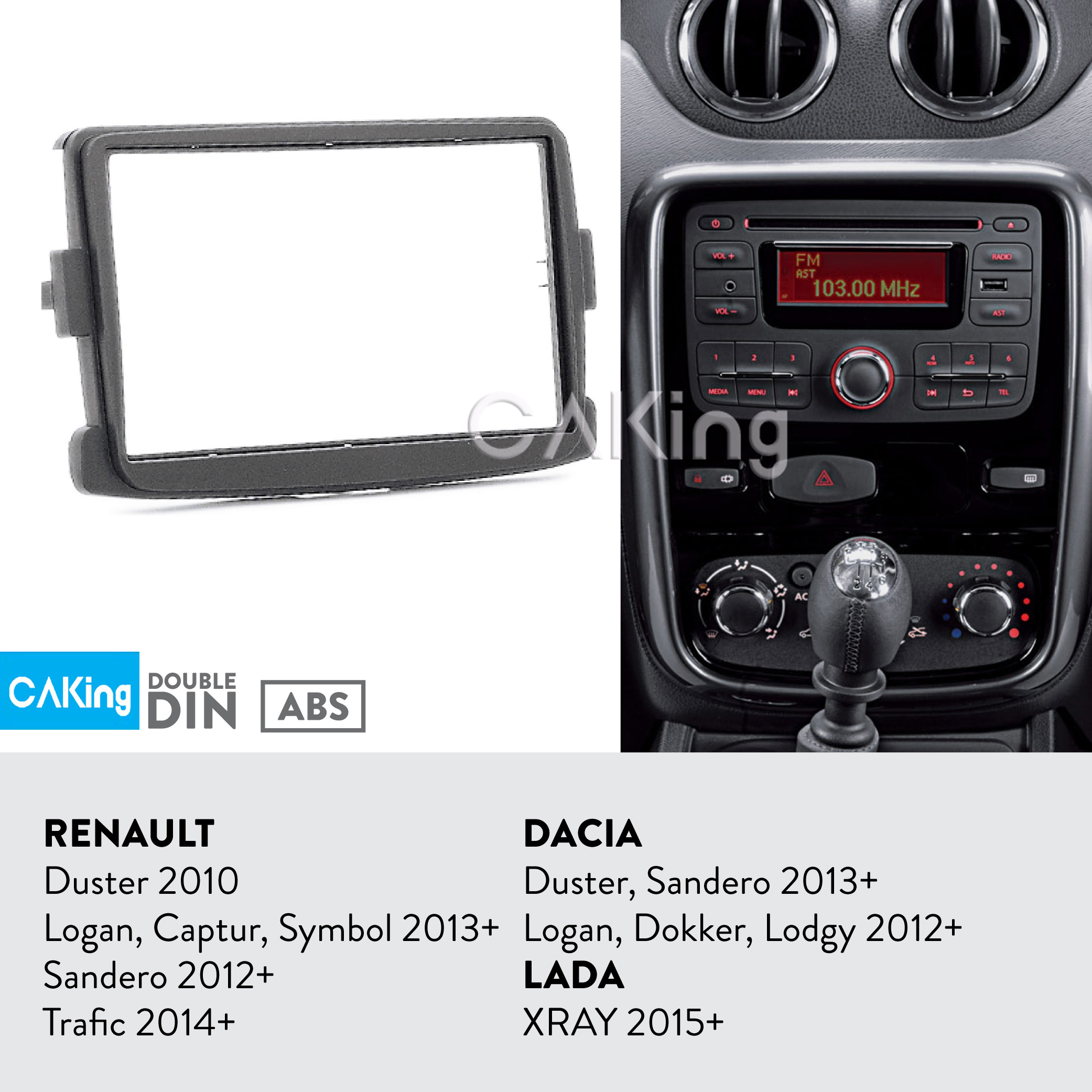 Car Fascia Radio Panel for RENAULT Duster 2010+; Logan, Captur, Symbol 2013+; Sandero 2012+; Trafic 2014+ Dash Kit Adapter Bezel-in Fascias from Automobiles & Motorcycles