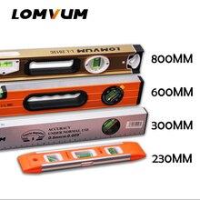 LOMVUM nivel de alcohol de alta precisión magnética de alta rodamiento regla palanca burbujas inoxidable regla Horizontal nivel Vial