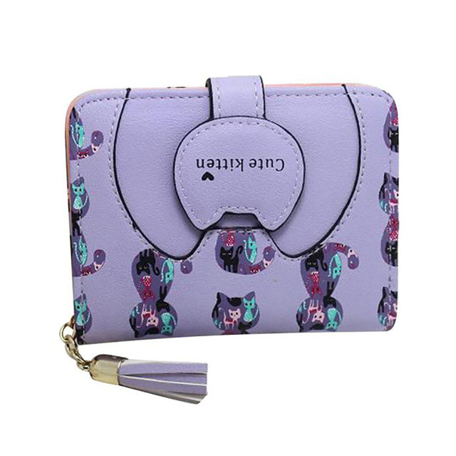 Lovely Cats Patterned Small Leather Girl's Wallet