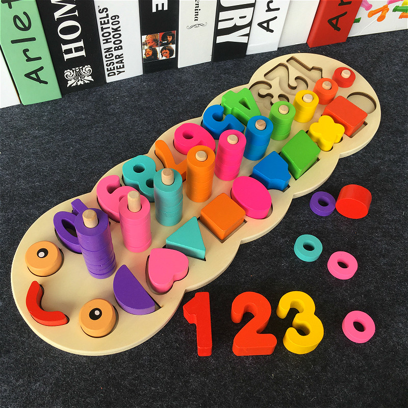 Montessori Children Preschool Educational Wooden Toys Caterpillar Counting Board Wooden Math Toy Kids Educational Toys