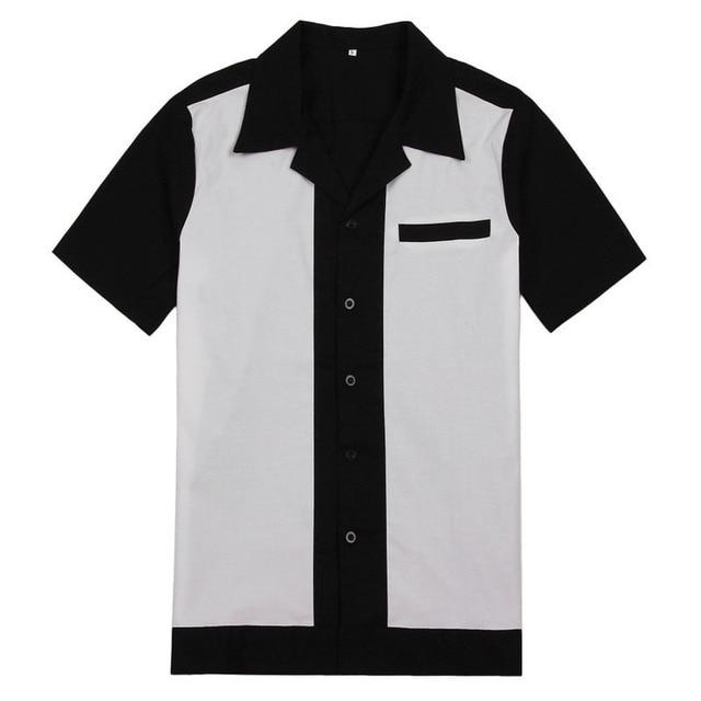 ac13098bea2 AOWOFS Rockabilly Men Western Cowboy Shirts Men Short Sleeve Black Shirts  Vintage Button Rockabilly Shirts Men Cargo Uniforms
