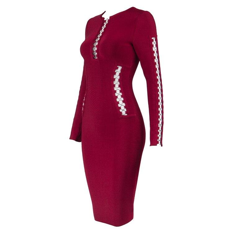 Longueur Celebrity Genou rouge Longues Robes Noir Au En Manches Sexy Métal Party Rayon Anneau Bandage 2017 Date À Évider Bv4767