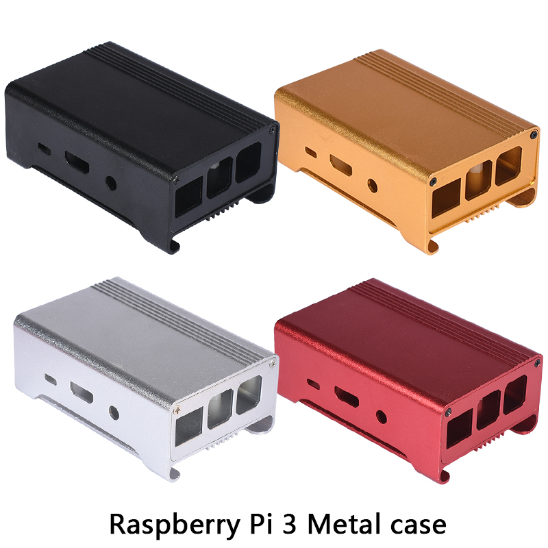 4 colors Metal Enclosure aluminum Box /Case with cooling fan for Raspberry Pi 3&2/Raspberry PI B+ high quality aluminum alloy case enclosure box for raspberry pi b red