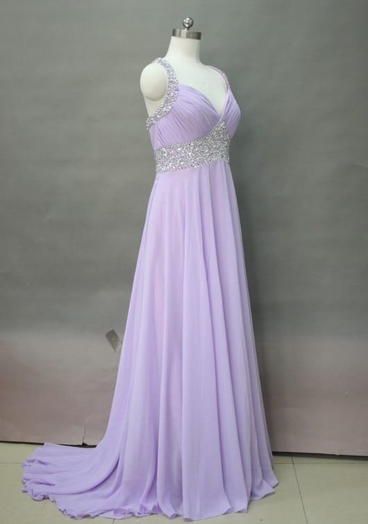Cathédrale en mousseline de soie mariée robes de mariée, perlée bandoulière robe de mariée lilas robe de mariée aller à la maison D53