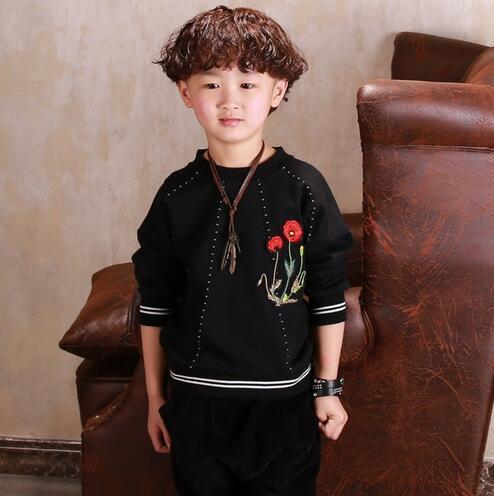 2017 niños clothing niños resorte de la manera de tres cuartos negro camisetas para niños de algodón doble patchwork niños casual tops