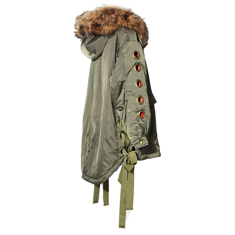 Lacent Manteau Coréen Artificielle Taille Fourrure Femelle Longues Veste Parka À Manches Grand Vêtements Army D'hiver Twotwinstyle Haut De Capuchon Femmes Grande Green mNn0v8w