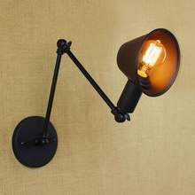 new design antique retro black of metal shade adjustable wall lamps with long swing arm for workroom bedside bedroom wall Lights