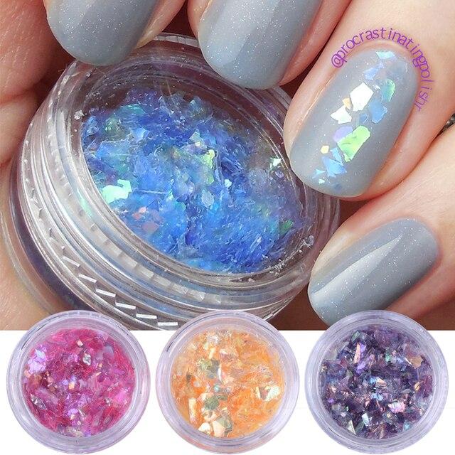 12 colors Holo Laser Sequins Nail Art Glitters Flakes Nail Art ...