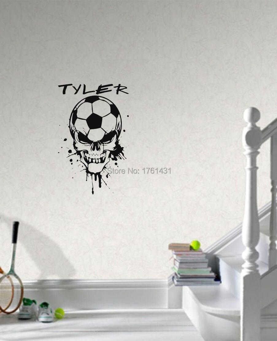 Soccer Ball Skull Head With Custom Name Wall Decals Vinyl