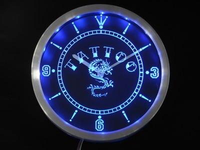 Nc0357 tatouage chinois Dragon encre Bar bière néon signe horloge mur LED