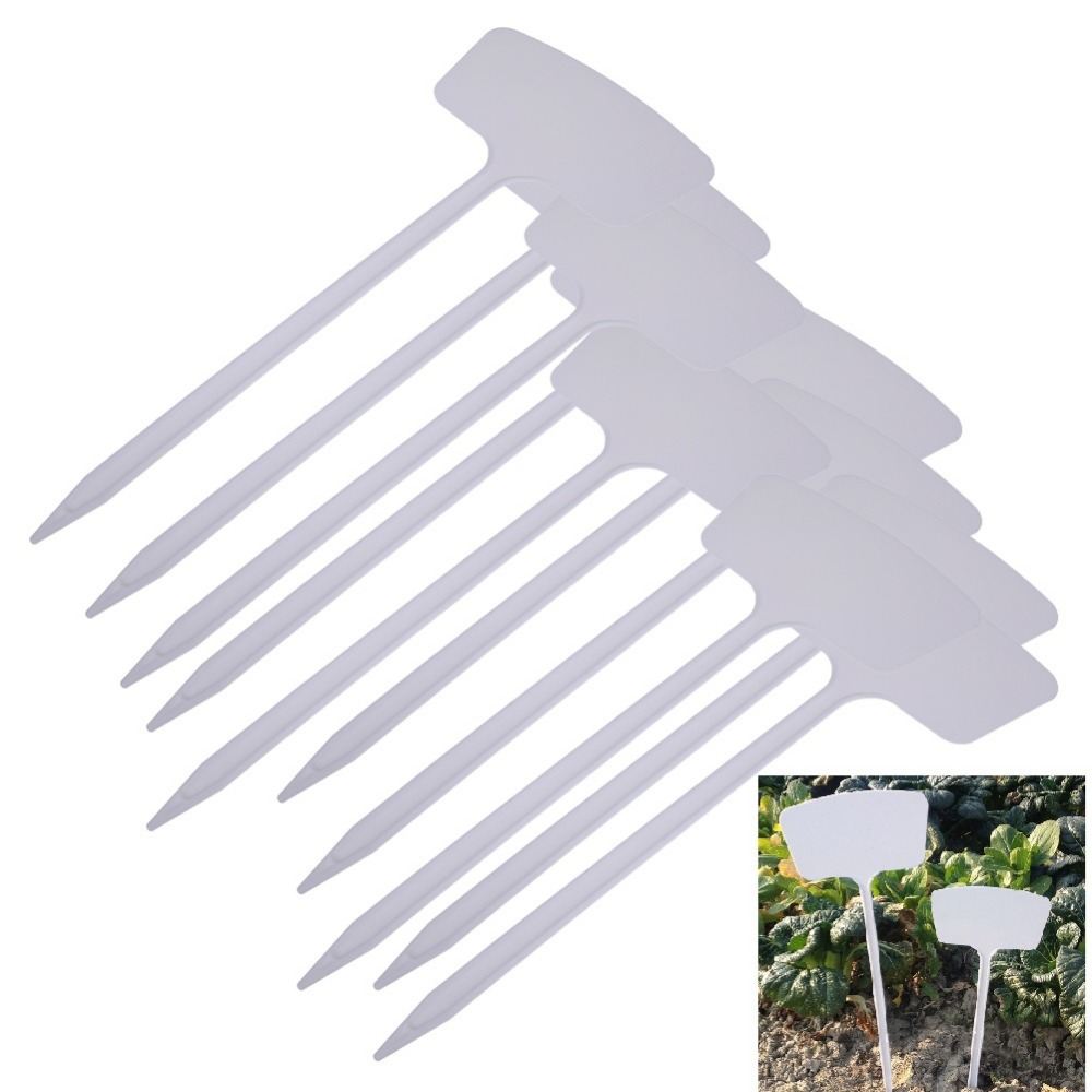 10Pcs T-type Plastic Plant Labels Garden Flower Tag Marker Nursery Pot Tags for Garden Decoration Flowerpot Tools
