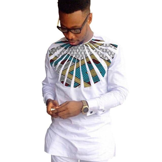 African fashion shirts men ankara print long sleeve dashiki shirts white cotton and wax patchwork o-neck top of africa clothing 3