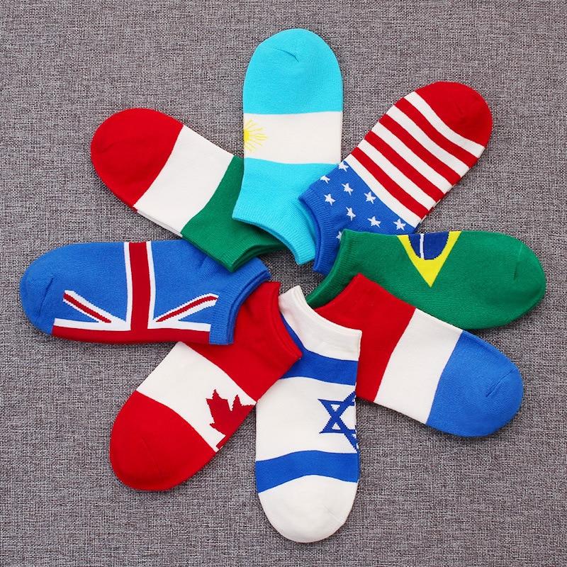1 Pair Fashion US/UK/Israel/Brazil/France/Italy/Japan/Argentina/Canada/Norway Flag Women Summer Thin Short Ankle Casual Socks